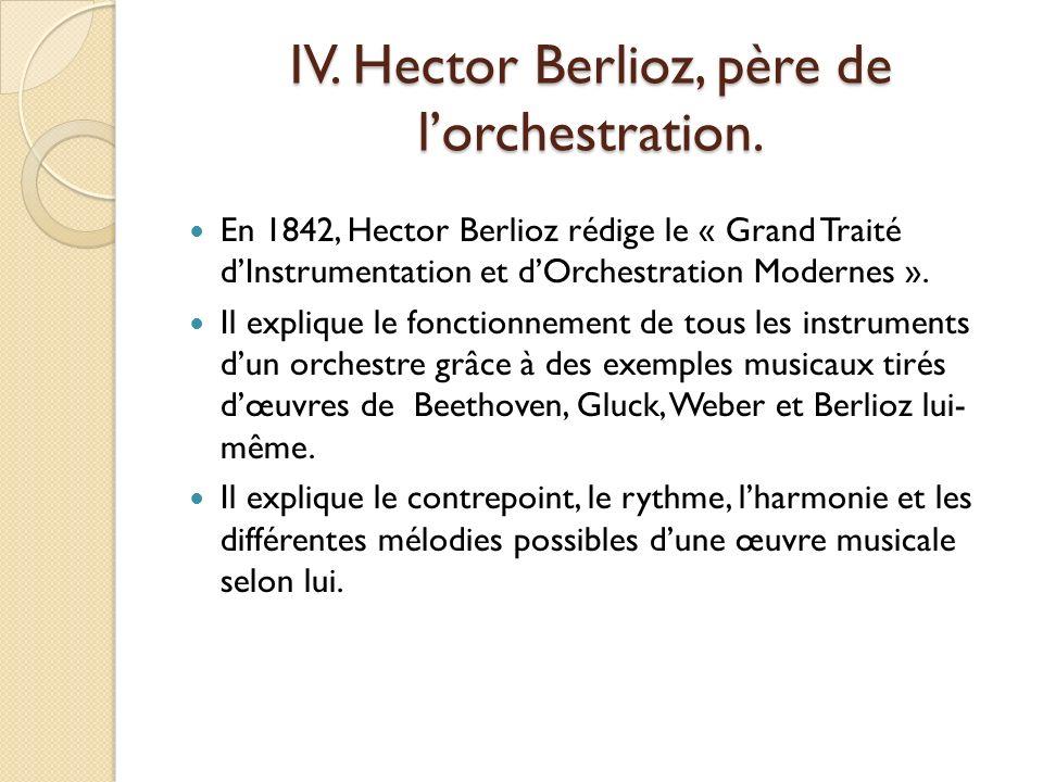 IV. Hector Berlioz, père de l'orchestration.