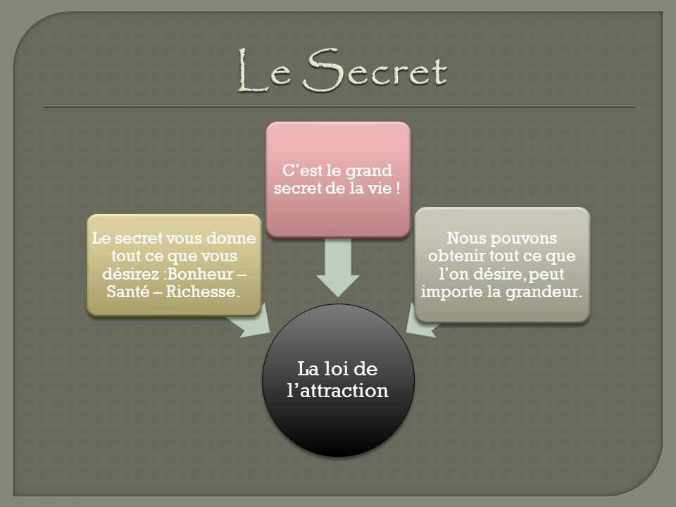 C'est le grand secret de la vie !