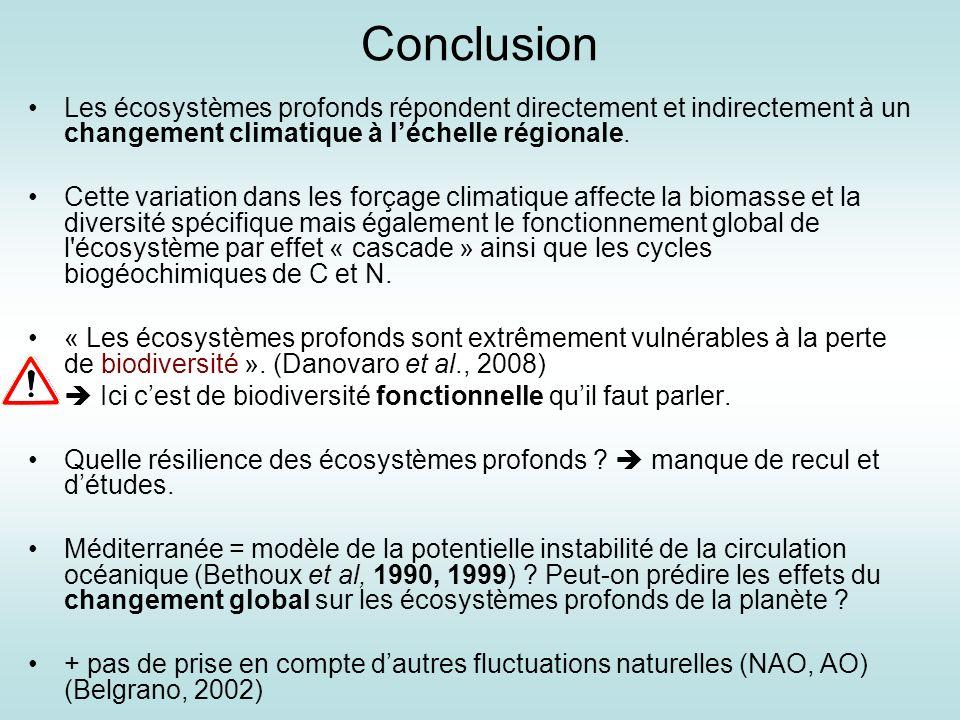 Conclusion Les écosystèmes profonds répondent directement et indirectement à un changement climatique à l'échelle régionale.
