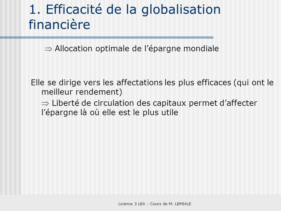 1. Efficacité de la globalisation financière