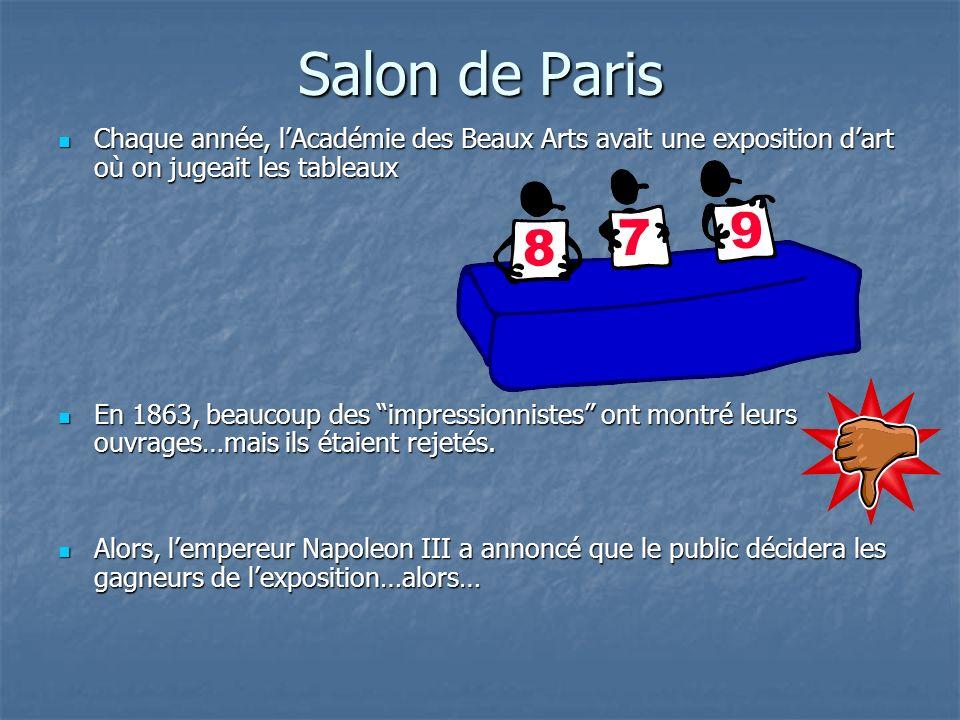 Salon de Paris Chaque année, l'Académie des Beaux Arts avait une exposition d'art où on jugeait les tableaux.