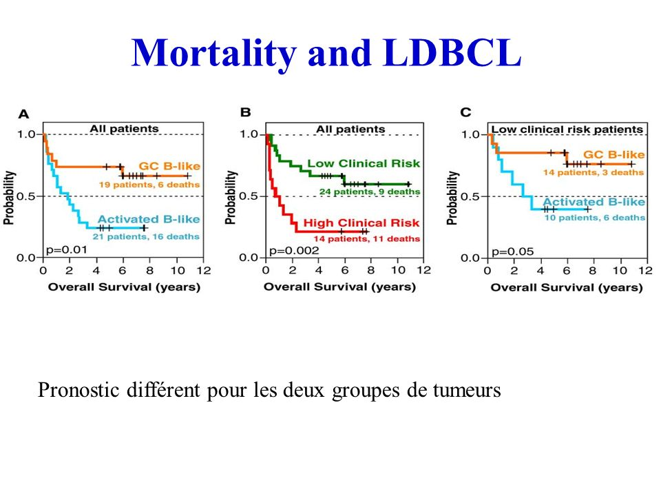 Mortality and LDBCL Pronostic différent pour les deux groupes de tumeurs