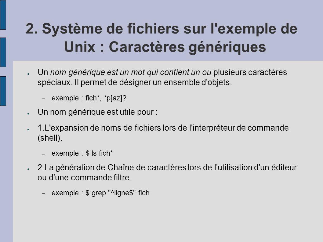 2. Système de fichiers sur l exemple de Unix : Caractères génériques