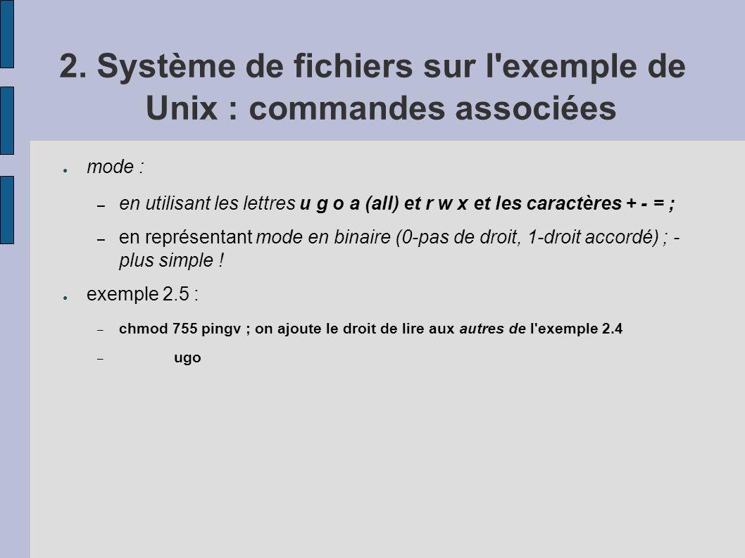 2. Système de fichiers sur l exemple de Unix : commandes associées