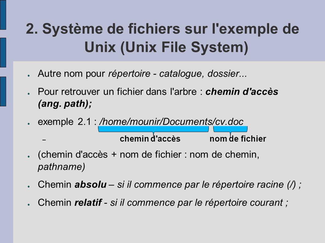 2. Système de fichiers sur l exemple de Unix (Unix File System)