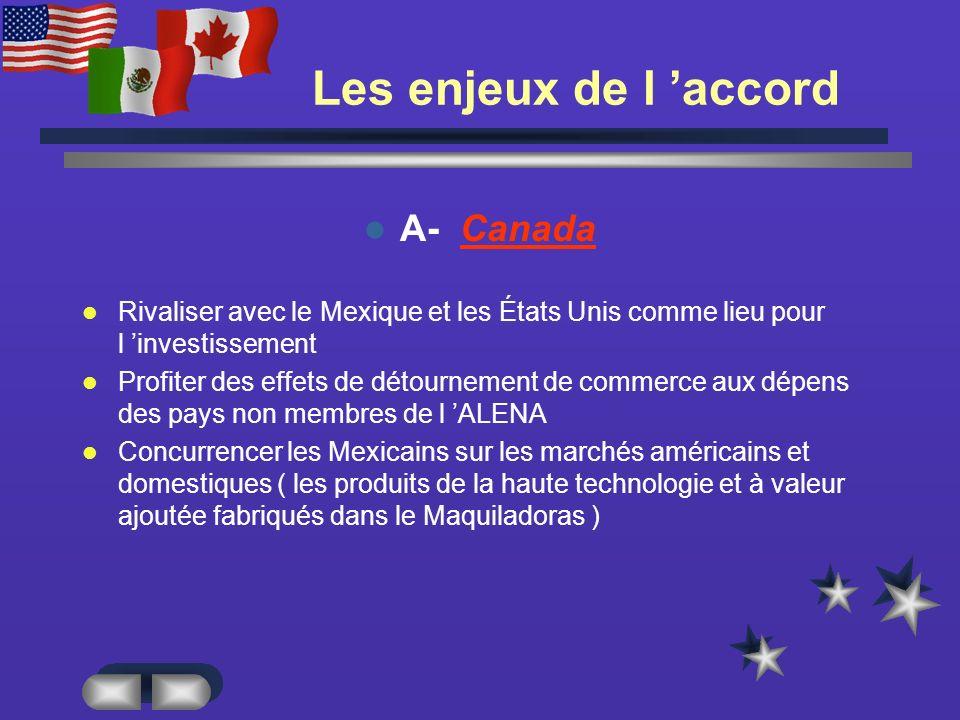 Les enjeux de l 'accord A- Canada