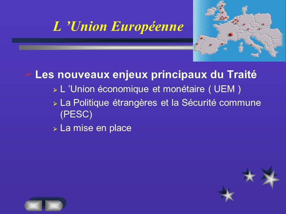 L 'Union Européenne Les nouveaux enjeux principaux du Traité