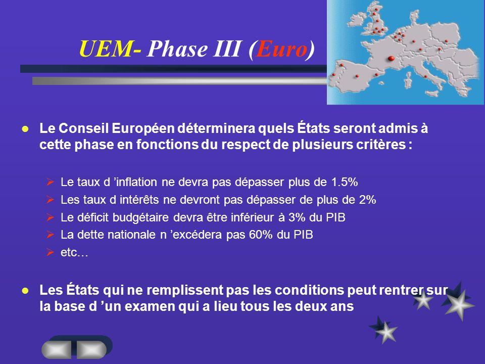 UEM- Phase III (Euro) Le Conseil Européen déterminera quels États seront admis à cette phase en fonctions du respect de plusieurs critères :