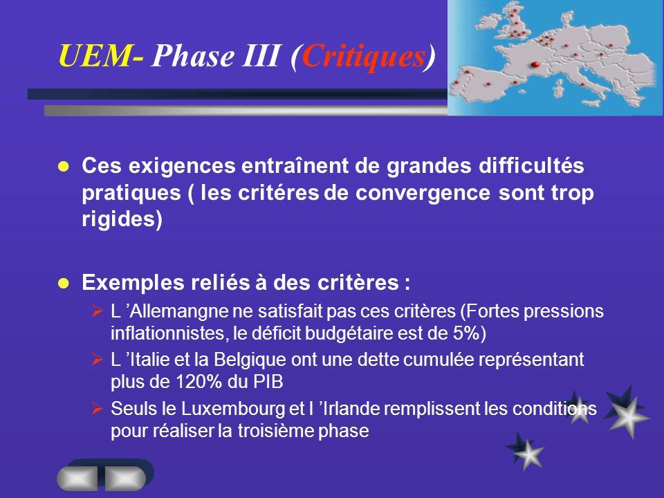 UEM- Phase III (Critiques)