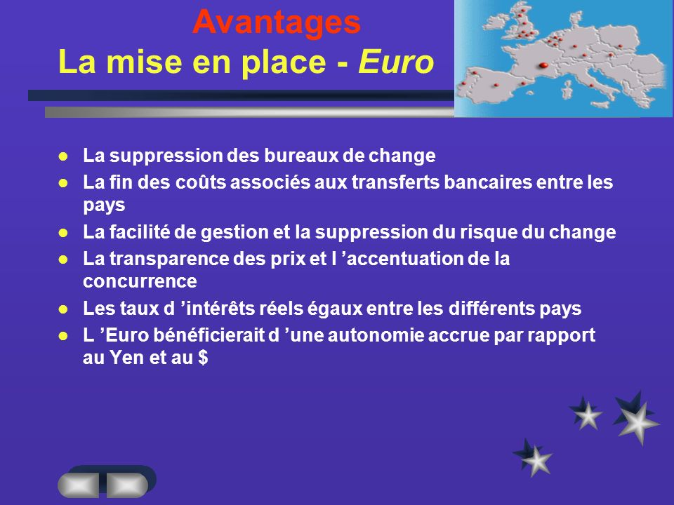 Avantages La mise en place - Euro