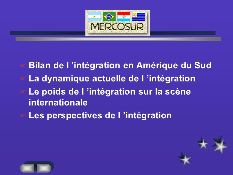 MERCUR Bilan de l 'intégration en Amérique du Sud