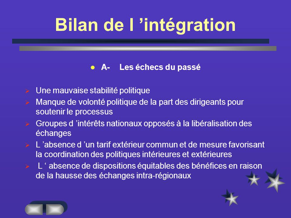 Bilan de l 'intégration