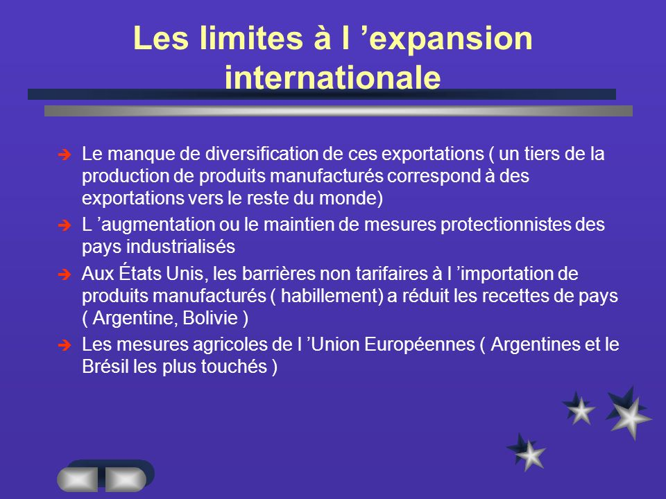 Les limites à l 'expansion internationale