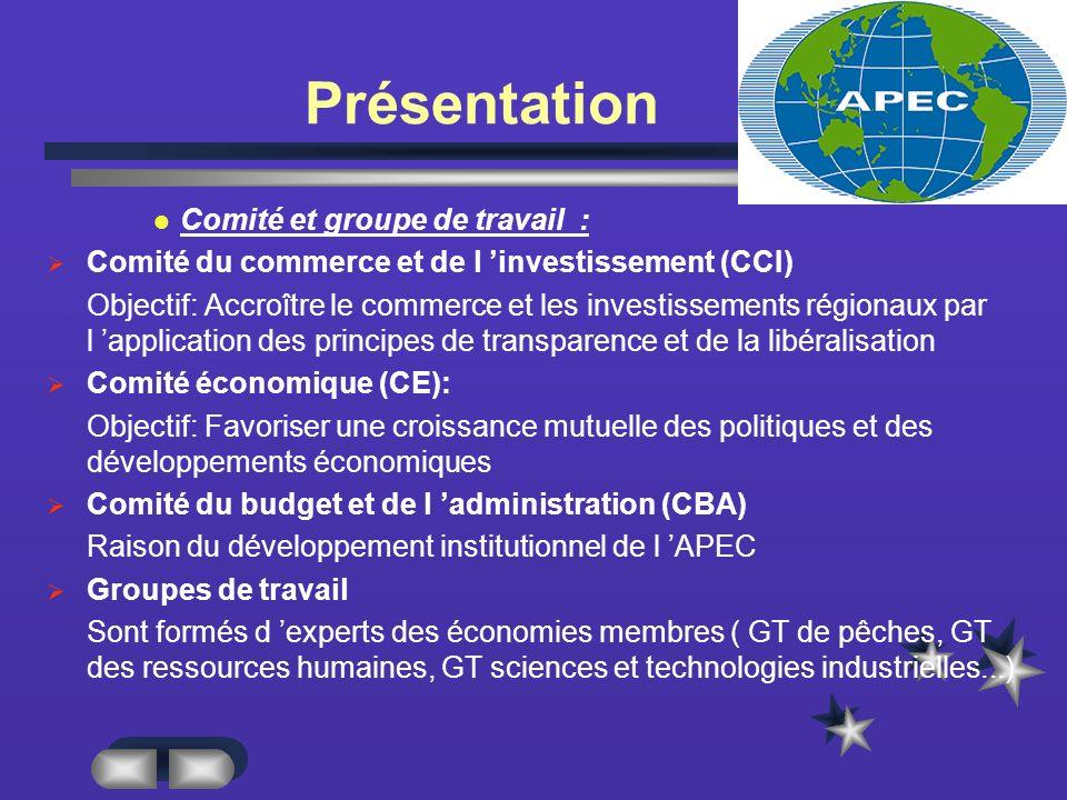 Présentation Comité et groupe de travail :