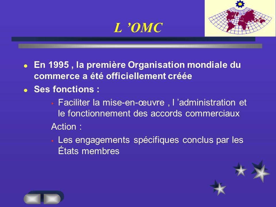 L 'OMC En 1995 , la première Organisation mondiale du commerce a été officiellement créée. Ses fonctions :
