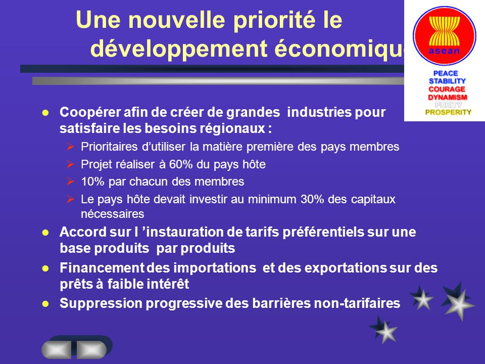 Une nouvelle priorité le développement économique