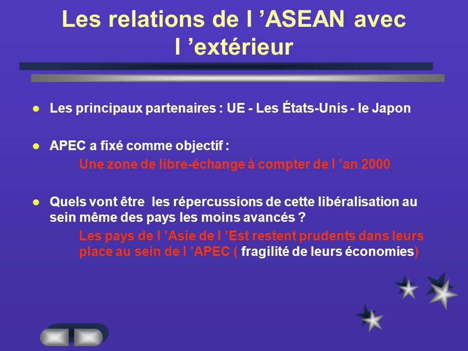 Les relations de l 'ASEAN avec l 'extérieur