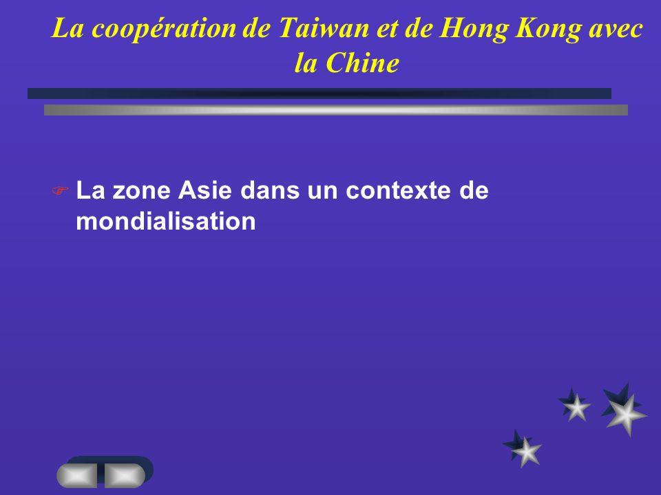 La coopération de Taiwan et de Hong Kong avec la Chine