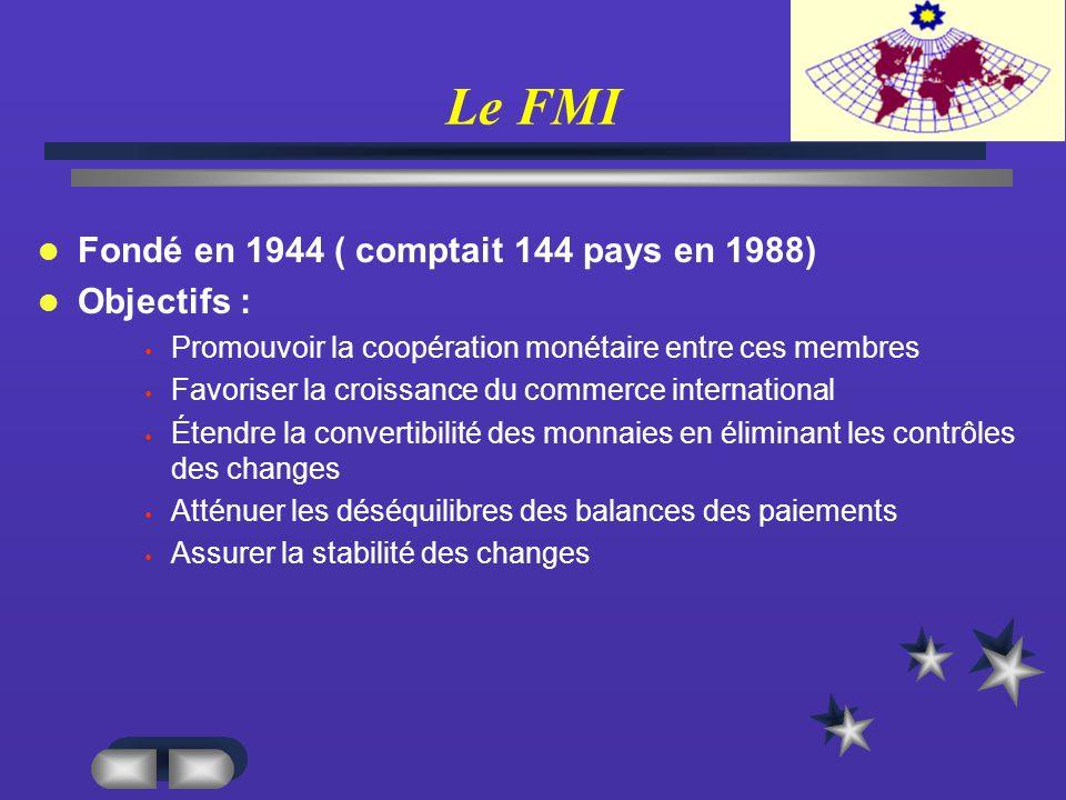 Le FMI Fondé en 1944 ( comptait 144 pays en 1988) Objectifs :