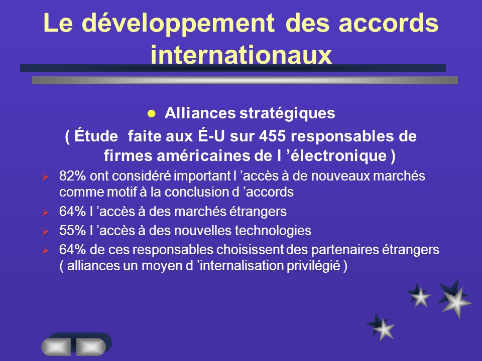 Le développement des accords internationaux