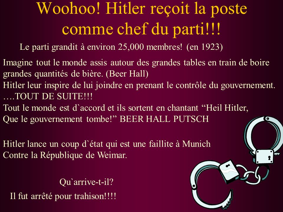 Woohoo! Hitler reçoit la poste comme chef du parti!!!
