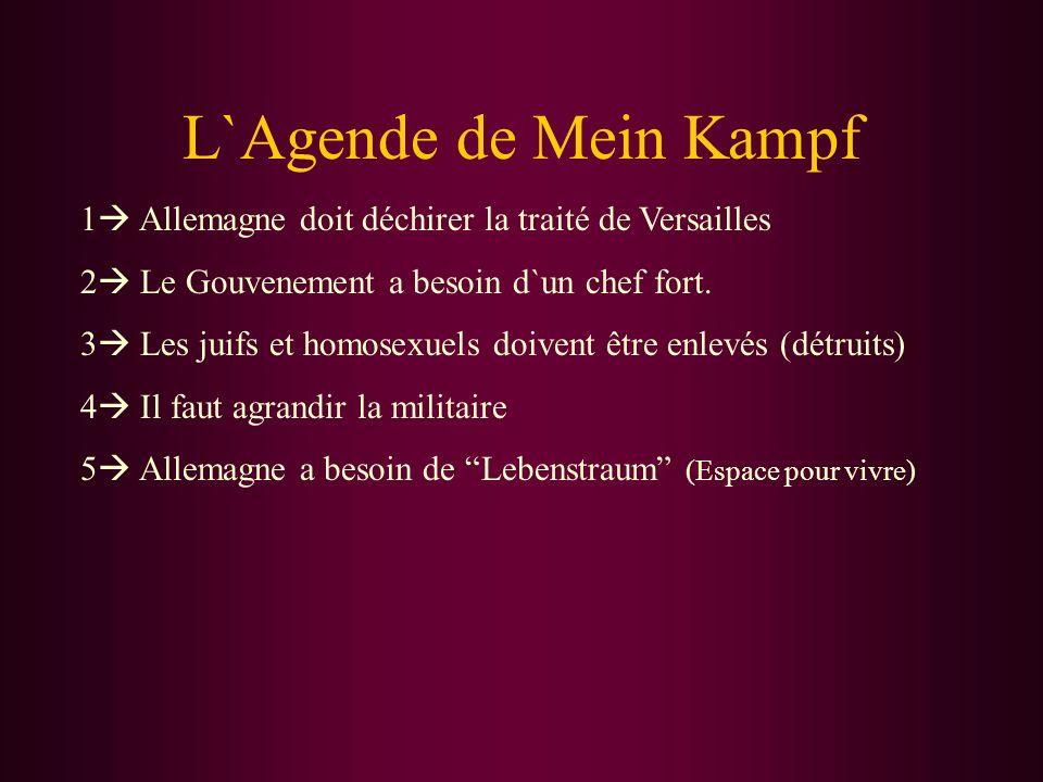 L`Agende de Mein Kampf 1 Allemagne doit déchirer la traité de Versailles. 2 Le Gouvenement a besoin d`un chef fort.