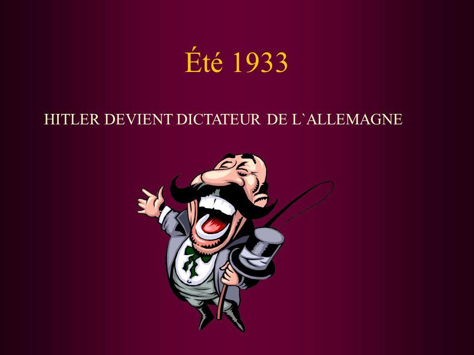 Été 1933 HITLER DEVIENT DICTATEUR DE L`ALLEMAGNE