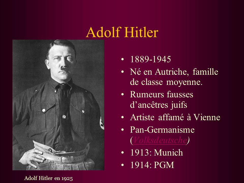 Adolf Hitler 1889-1945 Né en Autriche, famille de classe moyenne.
