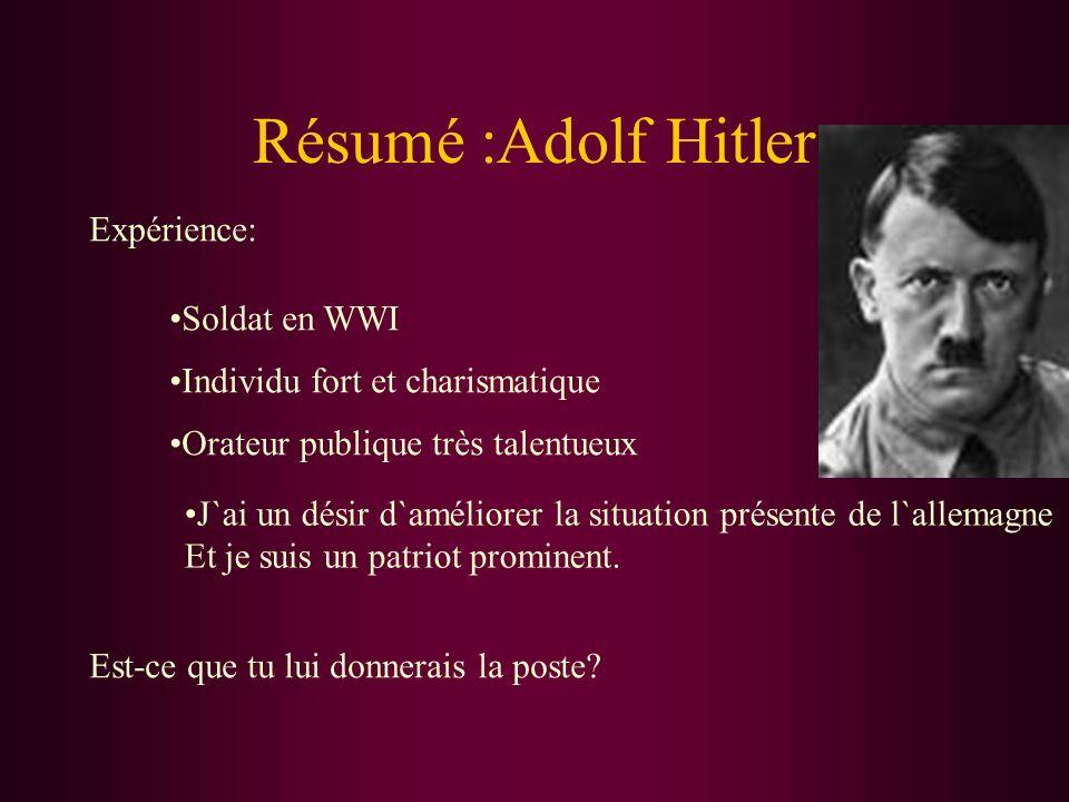Résumé :Adolf Hitler Expérience: Soldat en WWI