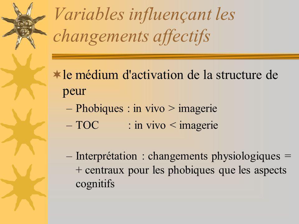 Variables influençant les changements affectifs