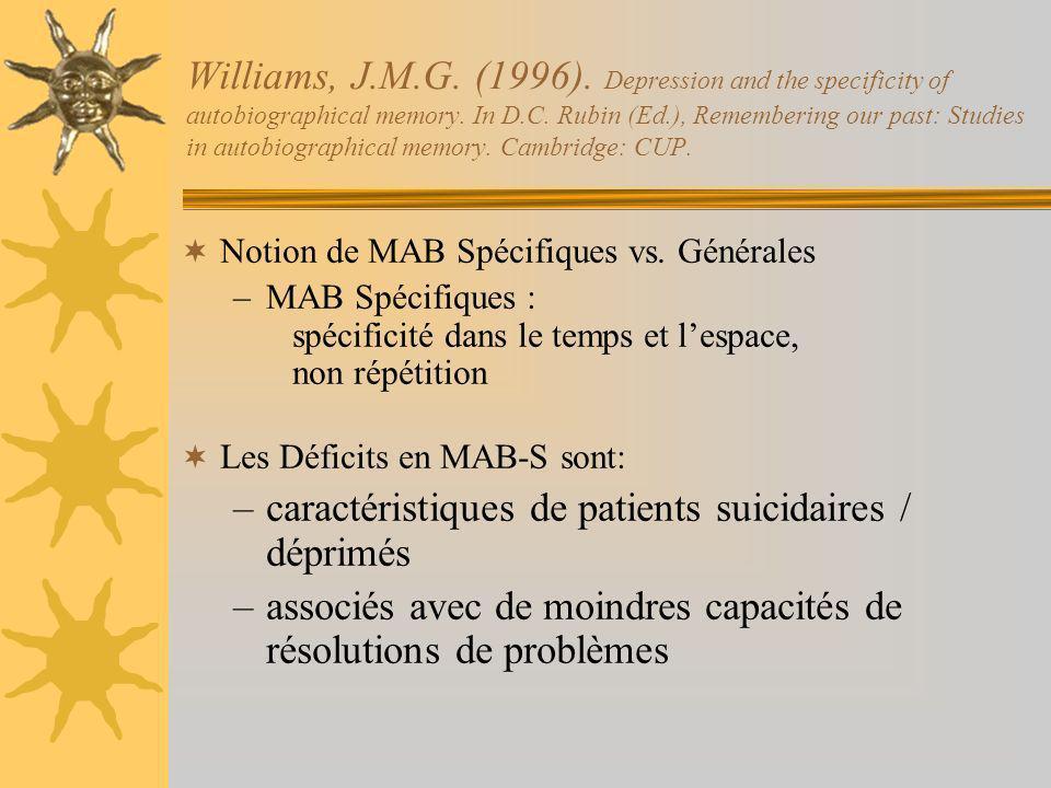 caractéristiques de patients suicidaires / déprimés