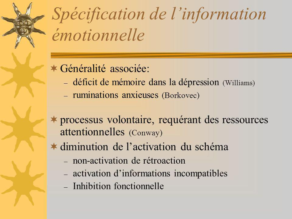Spécification de l'information émotionnelle