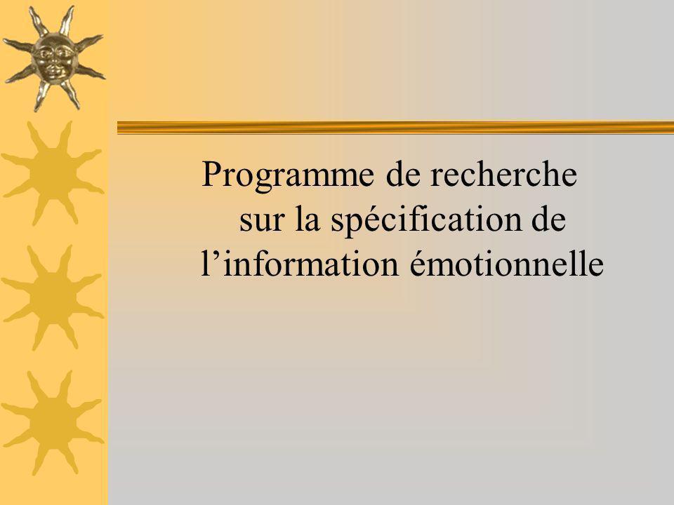 Programme de recherche sur la spécification de l'information émotionnelle