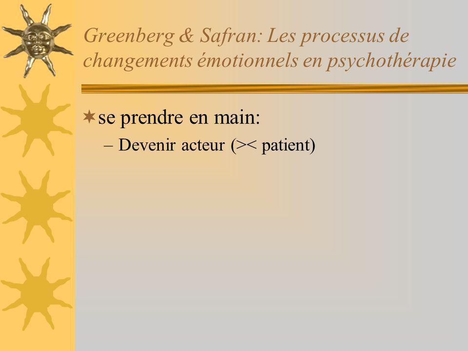 Greenberg & Safran: Les processus de changements émotionnels en psychothérapie