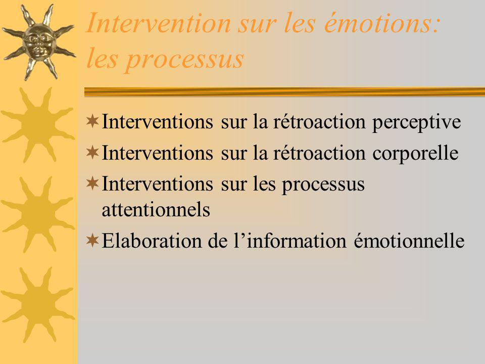 Intervention sur les émotions: les processus