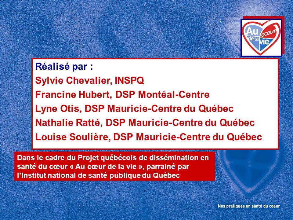 Sylvie Chevalier, INSPQ Francine Hubert, DSP Montéal-Centre