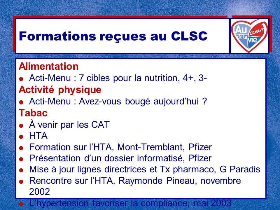 Formations reçues au CLSC