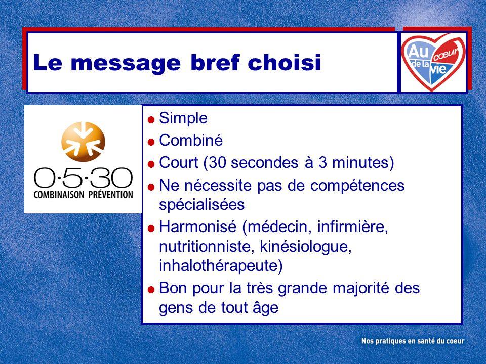 Le message bref choisi Simple Combiné Court (30 secondes à 3 minutes)