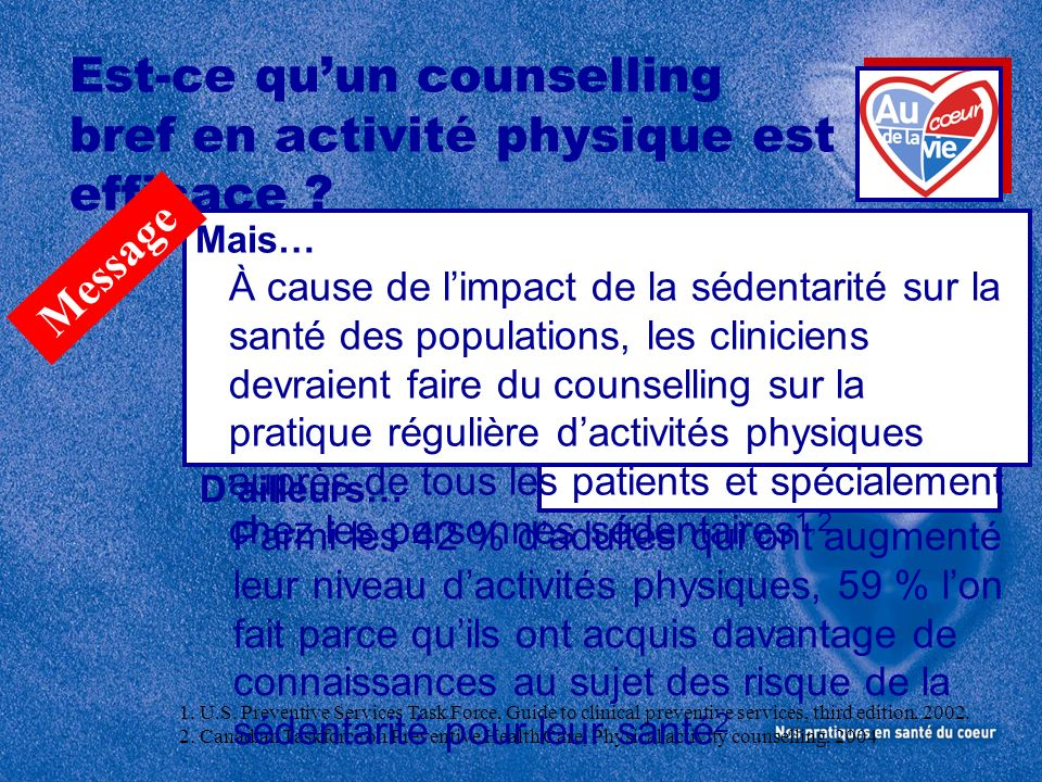 Est-ce qu'un counselling bref en activité physique est efficace