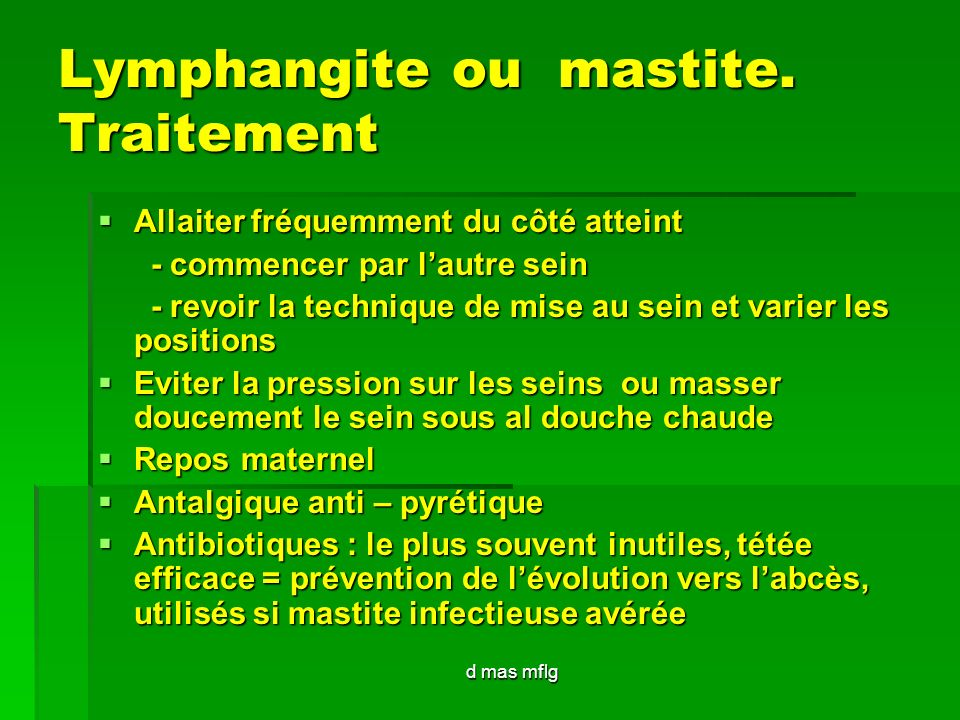 Lymphangite ou mastite. Traitement