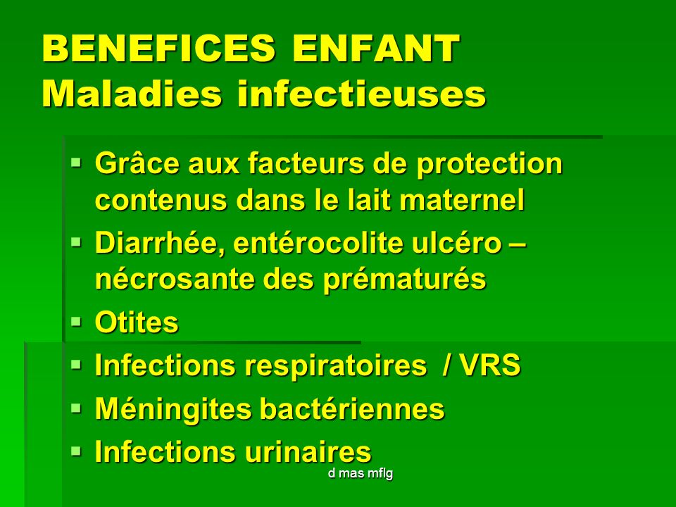 BENEFICES ENFANT Maladies infectieuses