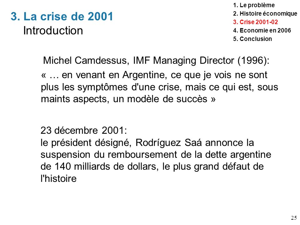 3. La crise de 2001 Introduction