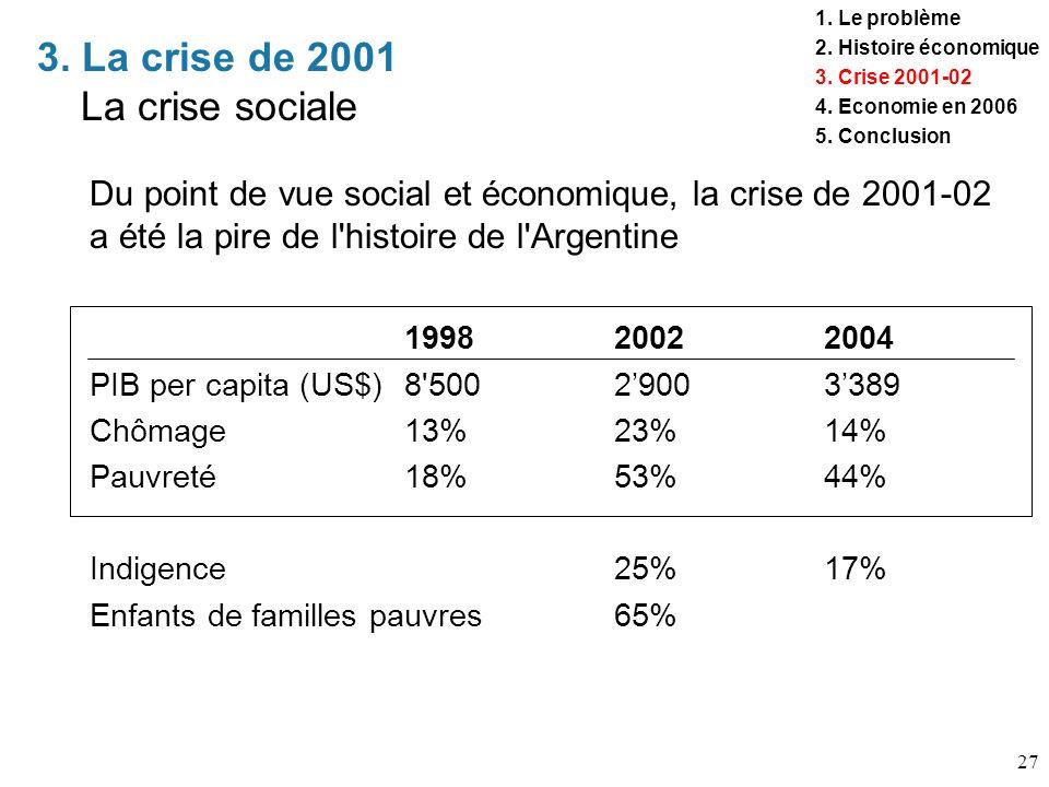 3. La crise de 2001 La crise sociale