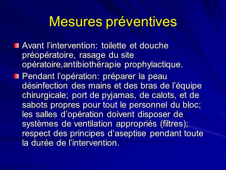 Mesures préventives Avant l'intervention: toilette et douche préopératoire, rasage du site opératoire,antibiothérapie prophylactique.