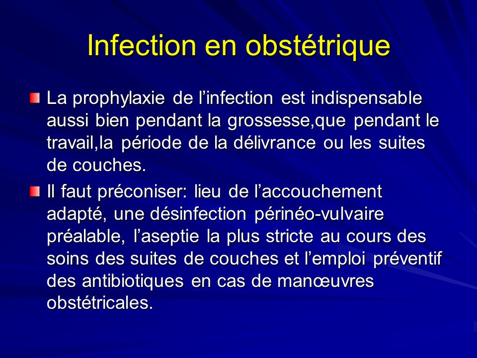 Infection en obstétrique