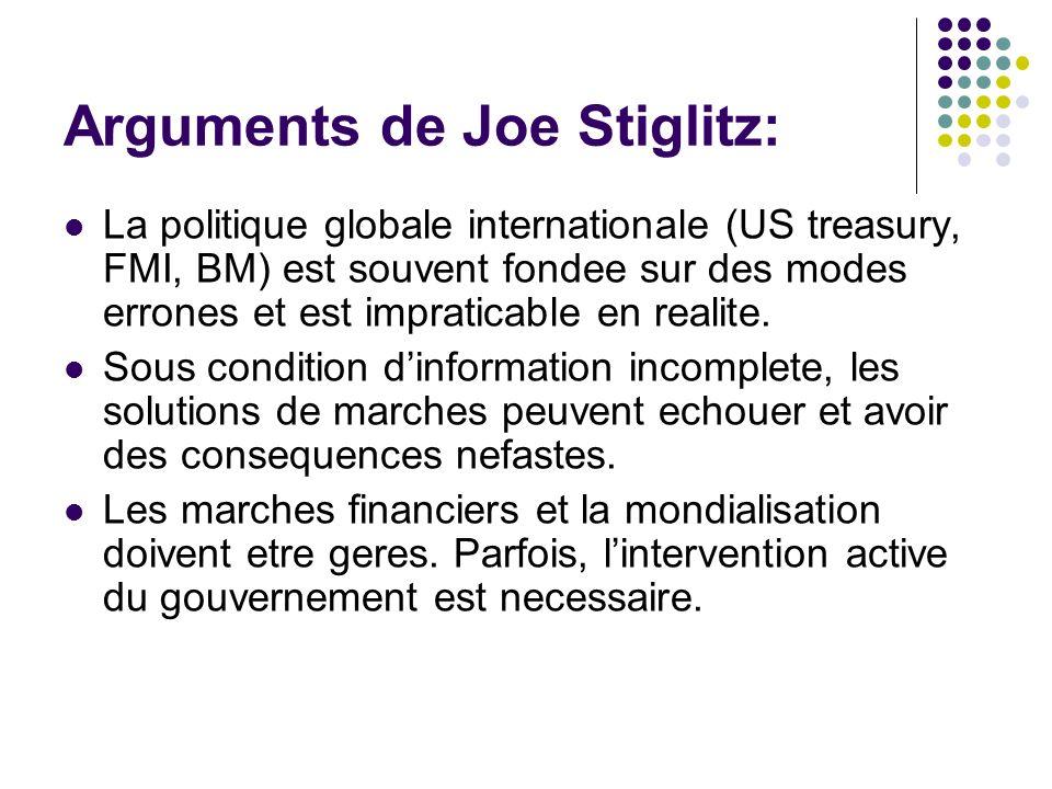 Arguments de Joe Stiglitz: