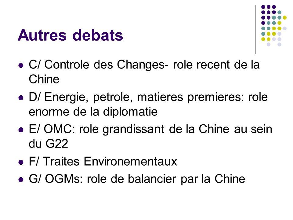 Autres debats C/ Controle des Changes- role recent de la Chine