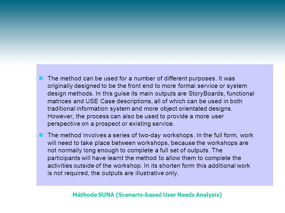 Méthode SUNA (Scenario-based User Needs Analysis)