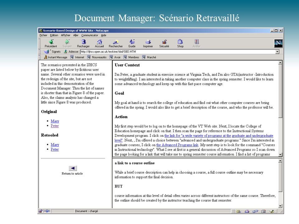 Document Manager: Scénario Retravaillé