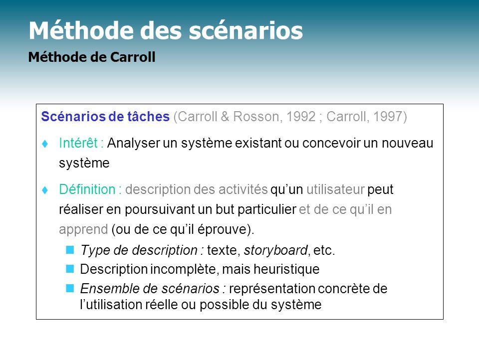Méthode des scénarios Méthode de Carroll